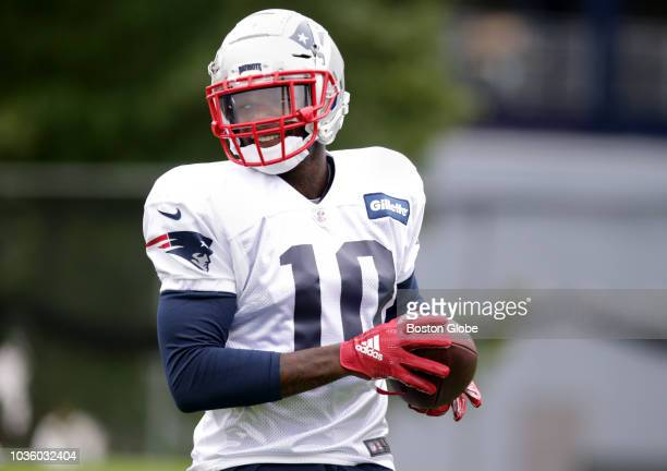 New England Patriots' Josh Gordon participates in a drill during New England Patriots practice at the Gillette Stadium practice facility in...
