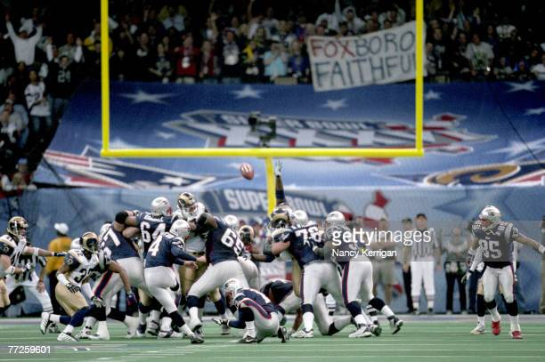 New England Patriots kicker Adam Vinatieri attempts a kick during Super Bowl XXXVI a 2017 victory over the St Louis Rams on February 3 at the...