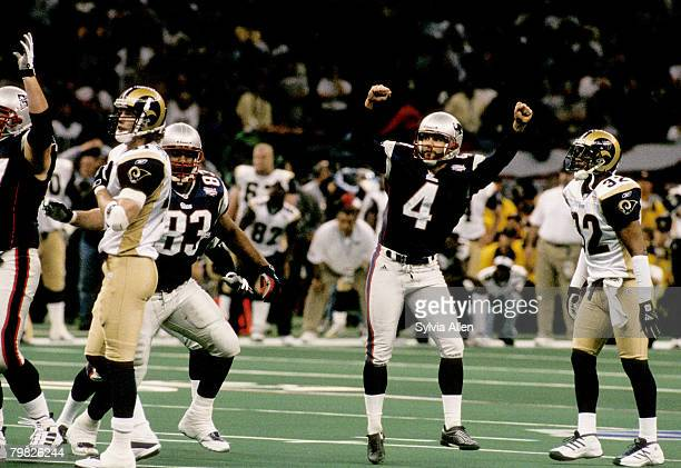 New England Patriots kicker Adam Vinatieri celebrates his 48yard gamewinning kick during Super Bowl XXXVI a 2017 victory over the St Louis Rams on...