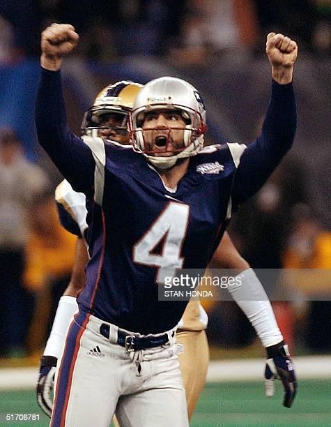 New England Patriots kicker Adam Vinatieri celebrates his gamewinning field goal in the second half 03 February 2002 of Super Bowl XXXVI in New...