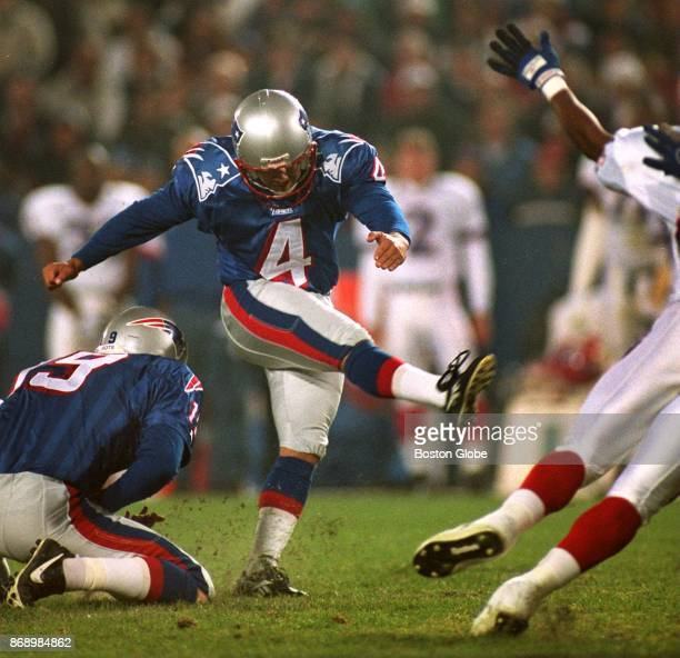 New England Patriots kicker Adam Vinatieri kicks a field goal during a game against the Buffalo Bills at Gillette Stadium in Foxborough Mass Oct 27...