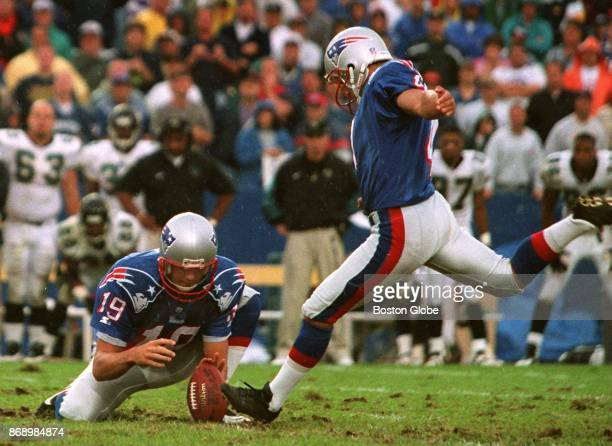 New England Patriots kicker Adam Vinatieri steps into a gamewinning field goal during a game against the Jacksonville Jaguars at Gillette Stadium in...