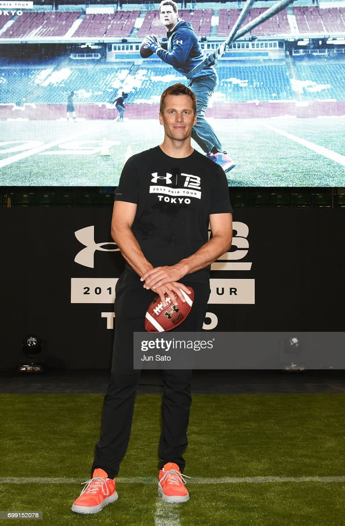 New England Patriots NFL quarterback Tom Brady attends the phtocall during the Under Armour 2017 Tom Brady Asia Tour at Ariake Colosseum on June 21, 2017 in Tokyo, Japan.