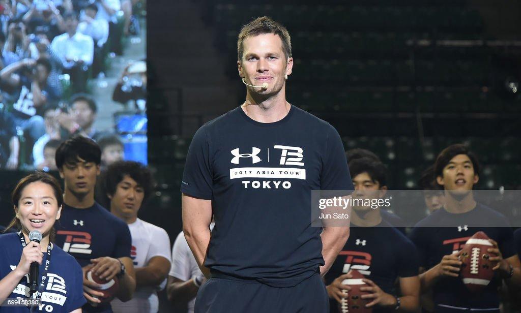New England Patriots NFL quarterback Tom Brady during the Under Armour 2017 Tom Brady Asia Tour at Ariake Colosseum on June 21, 2017 in Tokyo, Japan.