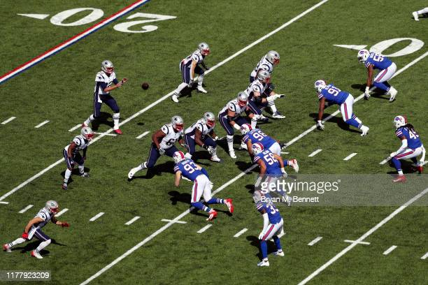 New England Patriots offense runs a play against the Buffalo Bills at New Era Field on September 29 2019 in Orchard Park New York