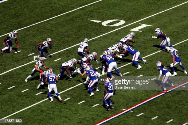 New England Patriots offense runs a play during a game against the Buffalo Bills at New Era Field on September 29, 2019 in Orchard Park, New York.