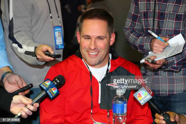 New England Patriots Offensive Coordinator Josh McDaniels answers questions during the New England Patriots Patriots Press Conference on January 31...