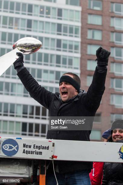 New England Patriots offensive coordinator Josh McDaniels celebrates during the New England Patriots victory parade on February 7 2017 in Boston...