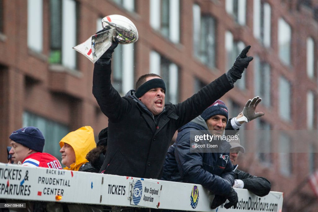 New England Patriots offensive coordinator Josh McDaniels celebrates during the New England Patriots victory parade on February 7, 2017 in Boston, Massachusetts. The Patriots defeated the Atlanta Falcons 34-28 in overtime in Super Bowl 51.