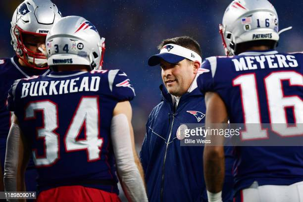 New England Patriots offensive coordinator Josh McDaniels reacts before the game against the Dallas Cowboys at Gillette Stadium on November 24 2019...
