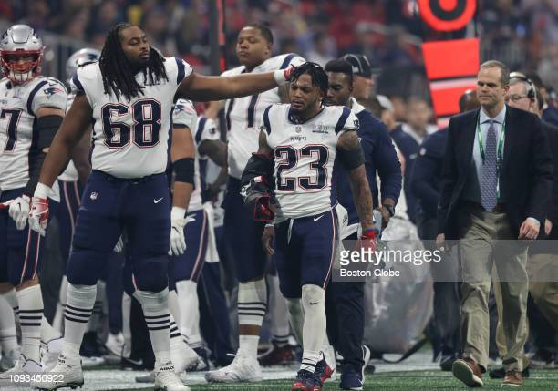 New England Patriots offensive tackle LaAdrian Waddle touches Patrick Chung after he was injured during the third quarter The New England Patriots...