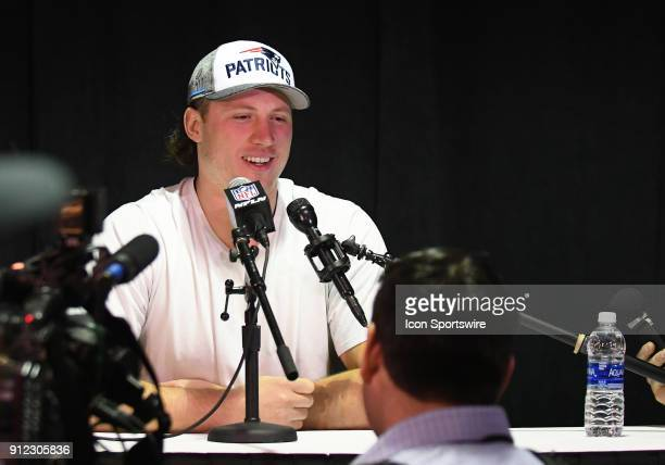 New England Patriots Offensive Tackle Nate Solder answers questions during a Super Bowl LII press conference on January 30 2018 at Mall of America in...