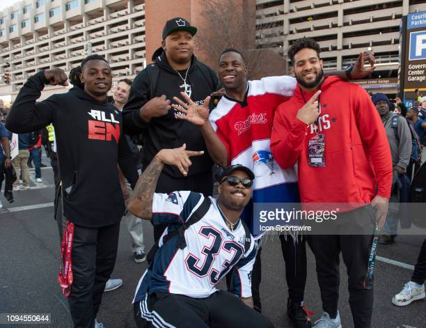 New England Patriots offensive tackle Trent Brown running back Jeremy Hill during the Victory Parade through the streets of Boston on February 5 in...