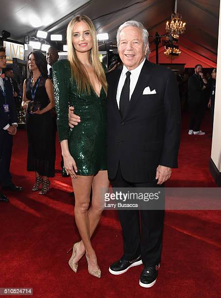 New England Patriots owner Robert Kraft and guest attend The 58th GRAMMY Awards at Staples Center on February 15 2016 in Los Angeles California