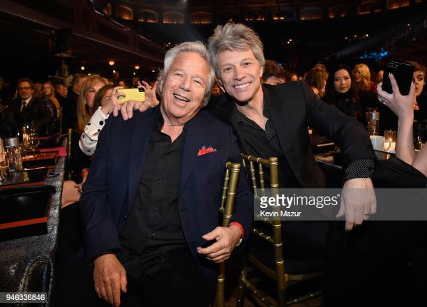 New England Patriots owner, Robert Kraft and inductee Jon Bon Jovi attend the 33rd Annual Rock & Roll Hall of Fame Induction Ceremony at Public...