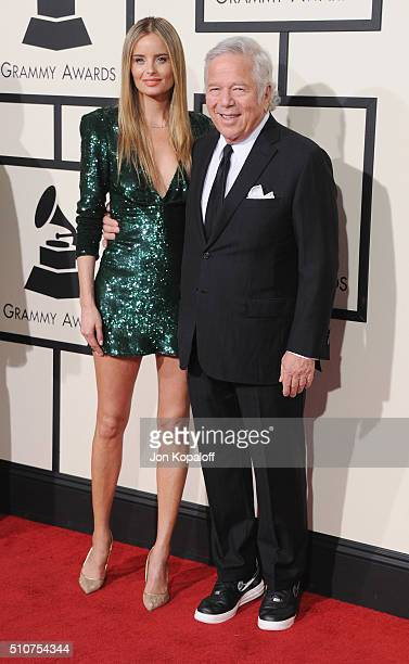 New England Patriots owner Robert Kraft and Ricki Lander arrive at The 58th GRAMMY Awards at Staples Center on February 15 2016 in Los Angeles...