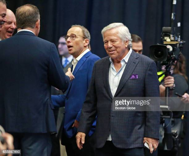 New England Patriots owner Robert Kraft is pictured as he arrives where NFL Commissioner Roger Goodell held his annual Super Bowl press conference in...