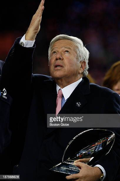 New England Patriots' owner Robert Kraft points to the heavens after mentioning his wife Myra after winning the game against Baltimore Ravens on...