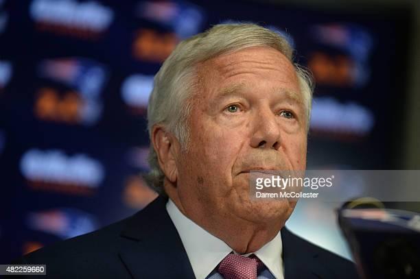 New England Patriots owner Robert Kraft speaks at a press conference at Gillette Stadium July 29 2015 in Foxborough Massachusetts Kraft addressed NFL...