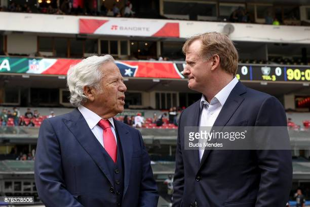 New England Patriots owner Robert Kraft talks with NFL Commissioner Roger Goodell prior to the game between the New England Patriots and the Oakland...