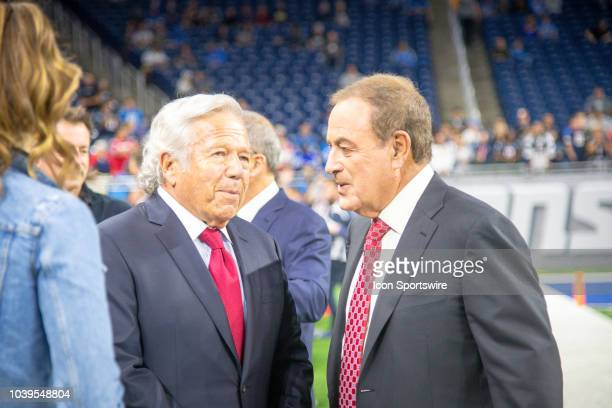New England Patriots owner Robert Kraft talks with TV announcer Al Michaels during the Detroit Lions game versus the New England Patriots on Sunday...