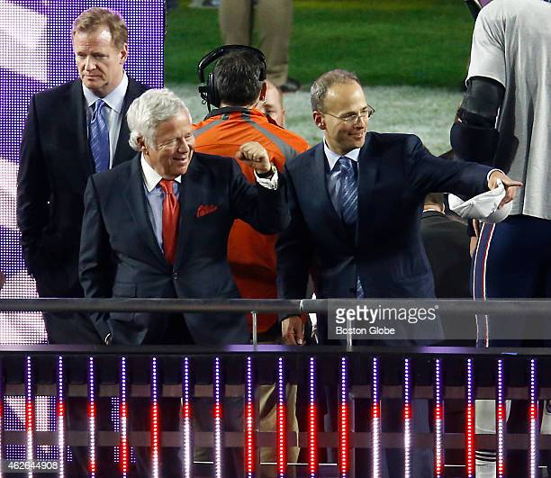 New England Patriots owners Robert and Jonathan Kraft on the podium after they defeated the Seattle Seahawks 2824 winning the Super Bowl XLIX at the...