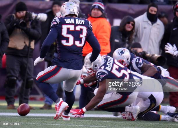 New England Patriots players close in on a punt recovered by Patriots linebacker Albert McClellan the second quarter The New England Patriots host...