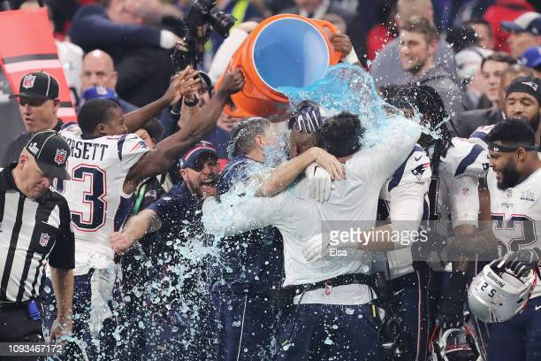 New England Patriots players give head coach Bill Belichick a Gatorade shower after winning the Super Bowl LIII at MercedesBenz Stadium on February 3...