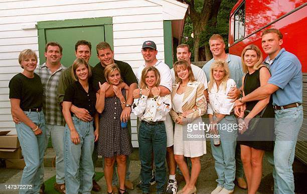 New England Patriots players with their girlfriends and wives backstage at the Vince Gill concert at the South Shore Music Circus From left are Bob...