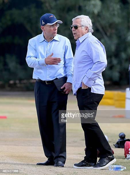 New England Patriots President Jonathan Kraft talks with Patriots owner Robert Kraft during the New England Patriots Super Bowl XLIX Practice on...