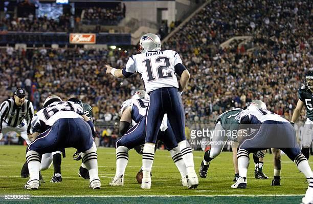 New England Patriots QB Tom Brady calling signals during Super Bowl XXXIX between the Eagles and the New England Patriots at Alltel Stadium in...