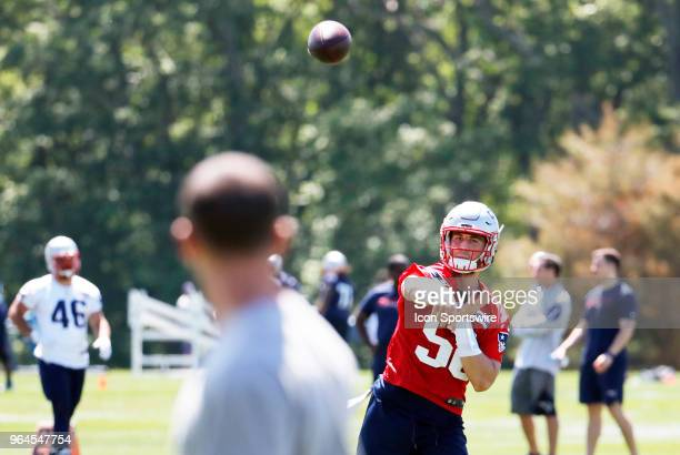 New England Patriots quarterback Danny Etling tosses a pass during New England Patriots OTA on May 31 at the Patriots Practice Facility in Foxborough...
