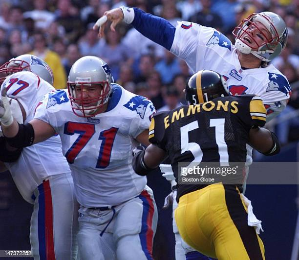 New England Patriots quarterback Drew Bledsoe throws a TD pass to Terry Glenn during the Patriots 239 victory over the Pittsburgh Steelers Sunday...