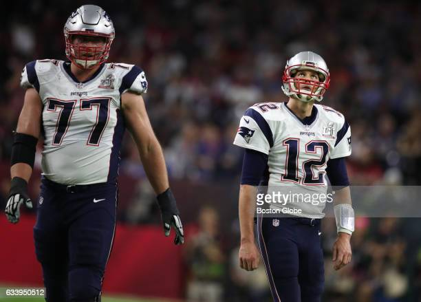 New England Patriots quarterback looks up Tom Brady towards the end of the second quarter at NRG Stadium in the Super Bowl The Atlanta Falcons play...