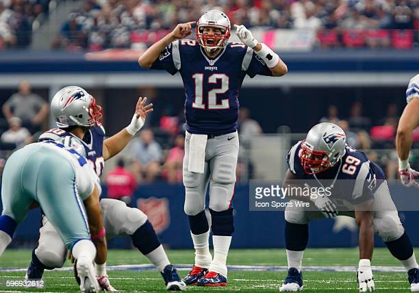New England Patriots Quarterback Tom Brady [4012] calls out signals during the NFL game between the New England Patriots and Dallas Cowboys at ATT...