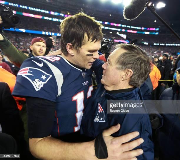 New England Patriots quarterback Tom Brady and head coach Bill Belichick embrace following New England's victory The New England Patriots host the...