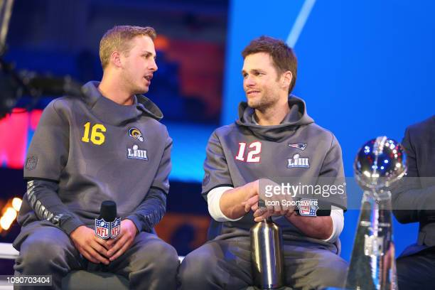 New England Patriots quarterback Tom Brady and Los Angeles Rams quarterback Jared Goff and the Vince Lombardi Trophy during Super Bowl Opening Night...