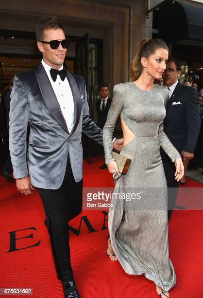 New England Patriots quarterback Tom Brady and Supermodel Gisele Bundchen leave from The Mark Hotel for the 2017 'Rei Kawakubo/Comme des Garçons Art...
