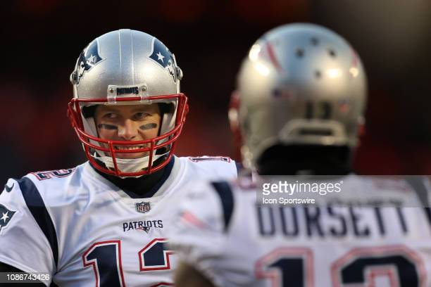 New England Patriots quarterback Tom Brady and wide receiver Phillip Dorsett before the AFC Championship Game game between the New England Patriots...