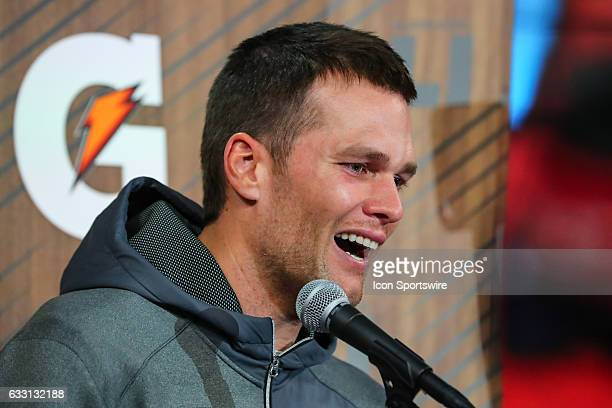 New England Patriots quarterback Tom Brady answers questions during Super Bowl Opening Night on January 30 at Minute Maid Park in Houston Texas