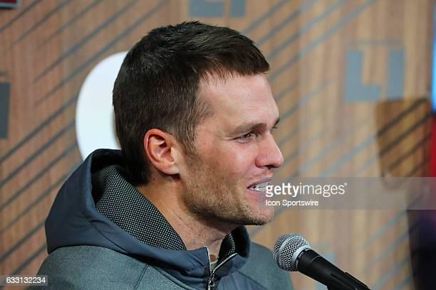 New England Patriots quarterback Tom Brady answers questions during Super Bowl Opening Night on January 30 at Minute Maid Park in Houston, Texas.