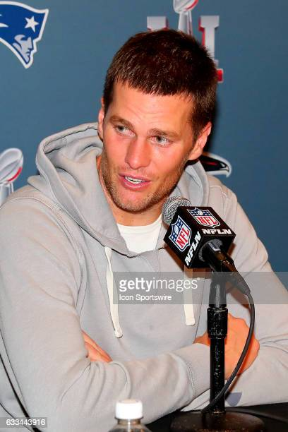 New England Patriots quarterback Tom Brady answers questions from the media during the New England Patriots Press Conference on February 02 at the JW...