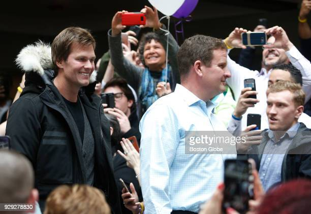 New England Patriots quarterback Tom Brady arrives to have his head shaved as part of Saving By Shaving 5 benefiting the DanaFarber Cancer Institute...