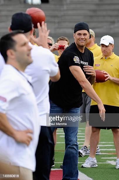 New England Patriots quarterback Tom Brady attends The Best Buddies Tom Brady Football Challenge at Harvard Stadium on June 1, 2012 in Boston,...