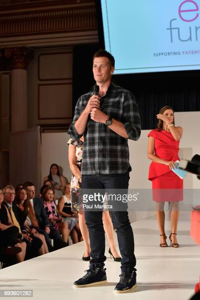 New England Patriots quarterback Tom Brady attends the Ellie Fund's 5 for Ellie Spring Fashion Show at the Fairmont Copley Plaza on June 7 2017 in...