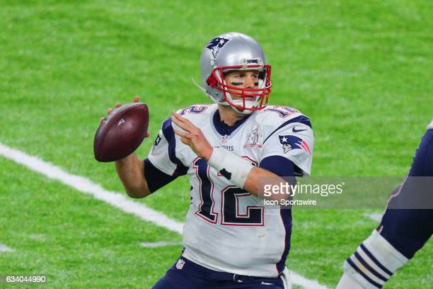 New England Patriots quarterback Tom Brady back to pass during the first half of Super Bowl LI on February 5 at NRG Stadium in Houston TX