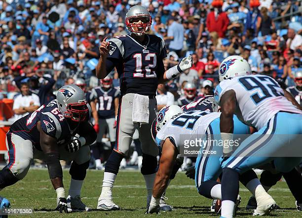 New England Patriots quarterback Tom Brady calls a play in the fourth quarter of the New England Patriots season opener against the Tennessee Titans...