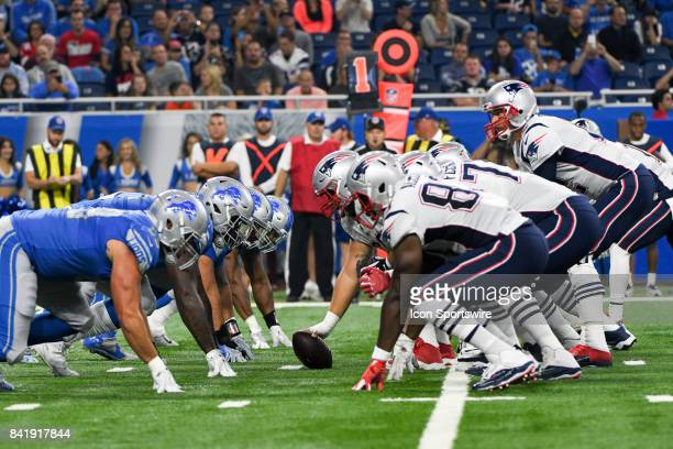 New England Patriots quarterback Tom Brady calls signals from under center in the first quarter during an NFL preseason game between the New England...