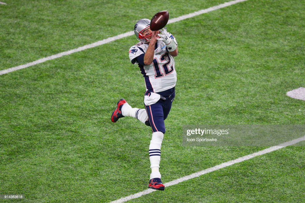 New England Patriots quarterback Tom Brady (12) cant make a catch during the second quarter of Super Bowl LII on February 4, 2018, at U.S. Bank Stadium in Minneapolis, MN.