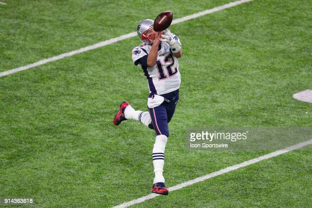 New England Patriots quarterback Tom Brady cant make a catch during the second quarter of Super Bowl LII on February 4 at US Bank Stadium in...